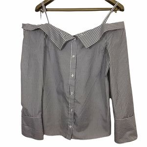 Topshop Off the Shoulder Striped Bell Sleeve Button Front Top